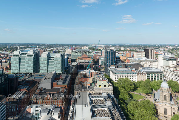 Aerial photograph of Birmingham City Centre, England. Snowhill office buildings and St Phillips Cathedral