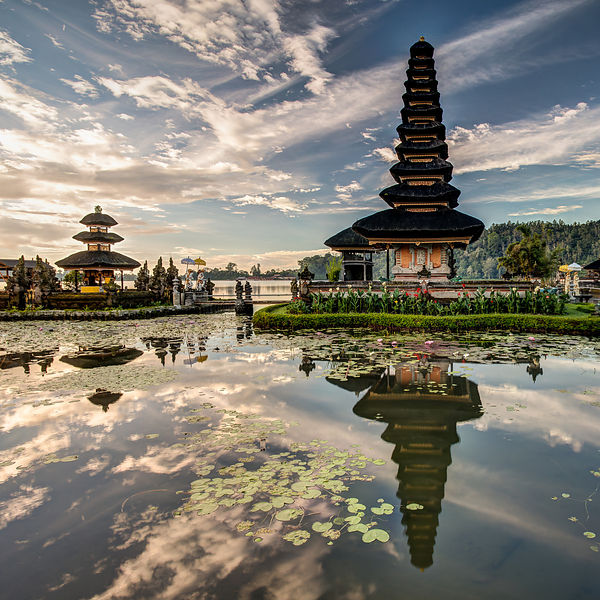 Ulun Danu Temple at Sunrise.  Bali, Indonesia