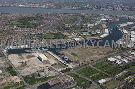 Wirral Waters Enterprise Zone West Float Dock looking towards East Float Dock and Cavendish Dock and Vittoria Dock Birkenhead towards  Liverpool City Centre