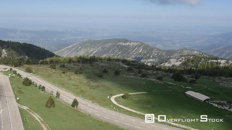 Road at Mont-Ventoux, viewed from drone