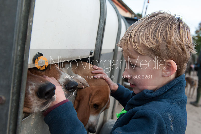 A child pets a Basset in its trailer