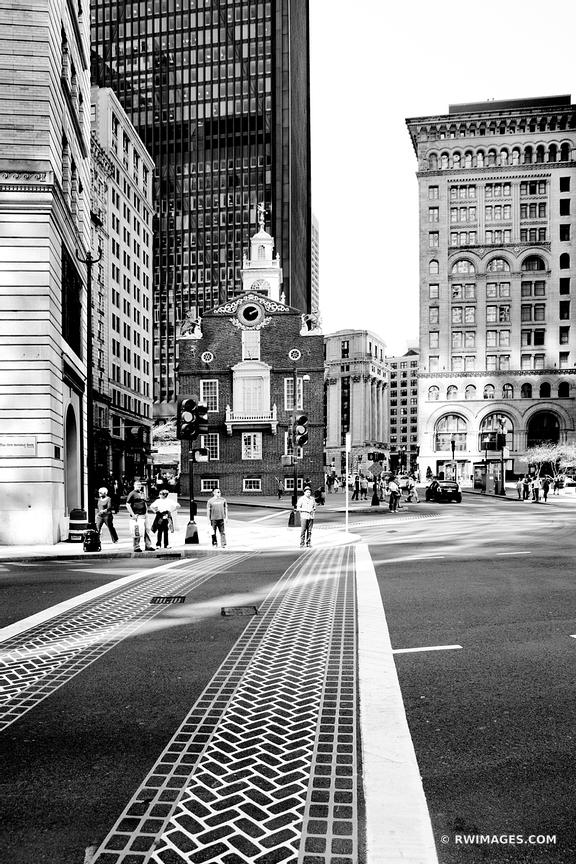Boston downtown street black and white vertical