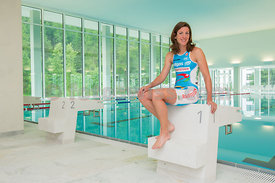 Nicola Spirig Triathlon Olympic Medalists in London 2012 enjoy the training facility OVAVERVA in St.Moritz