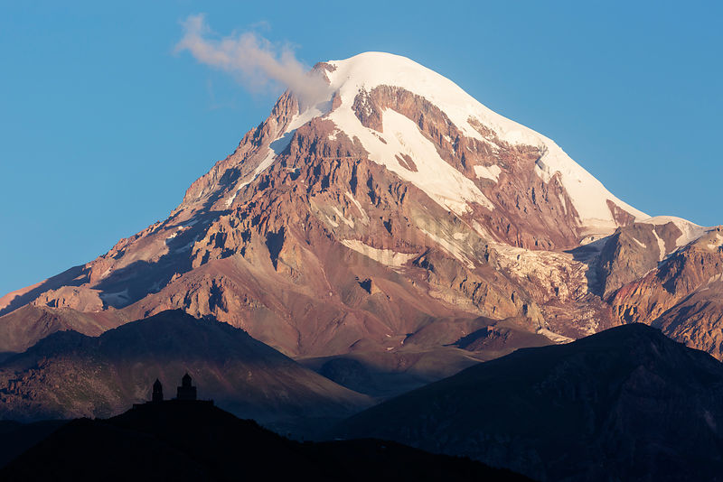 Gergeti Trinity Church with Mt Kazbegi in the Background at Sunrise