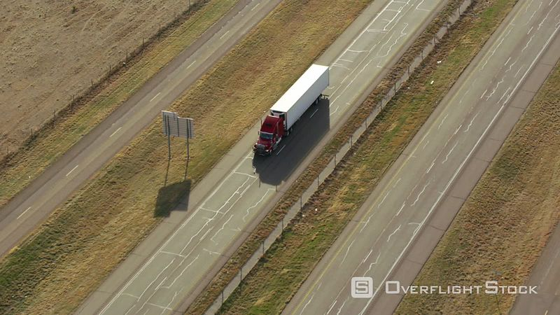Aerial view of semi truck on highway in Texas