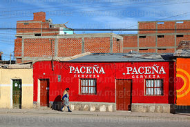 Woman walking past Paceña beer mural on house, Uyuni, Bolivia
