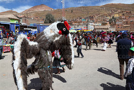 Dancer wearing Andean condor costume at Chutillos festival, Potosí, Bolivia