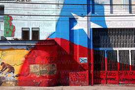 Chilean flag and Mapuche Liberation graffiti , Iquique , Region I , Chile