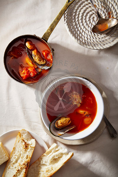 Traditional mediterranean soup bouillabaisse with mussels