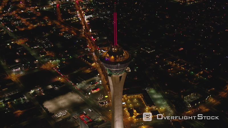 Las Vegas, Nevada Looking straight down at Stratosphere tower.  Shot with Cineflex and RED EpicW Helium.