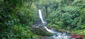 Panoramic of La Paz waterfall in the green rainforest of Costa Rica