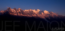 Sunset on the Mont Blanc Massif