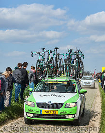 The Car of BelkinTeam on the Roads of Paris Roubaix Cycling Race