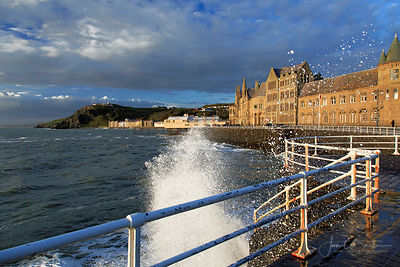 High tide waves, Old College, Aberystwyth