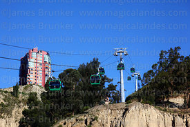 Green Line cable cars  above terminal in Irpavi, La Paz, Bolivia