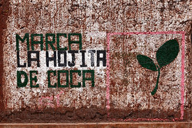 Political party propaganda with coca leaf symbol in village of Pucará , Puno department , Peru