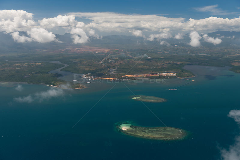 Aerial view of Rio Tuba nickel mine processing and delivery zone in Rio Tuba coastal port, Palawan, Philippines, April 2010