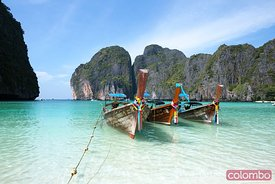 Long tail boats on Maya bay beach, Ko phi phi, Thailand