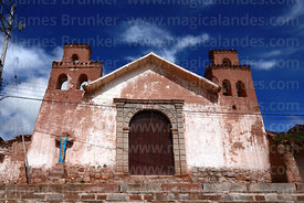 Quaint old adobe colonial church, Maras, Cusco Region, Peru