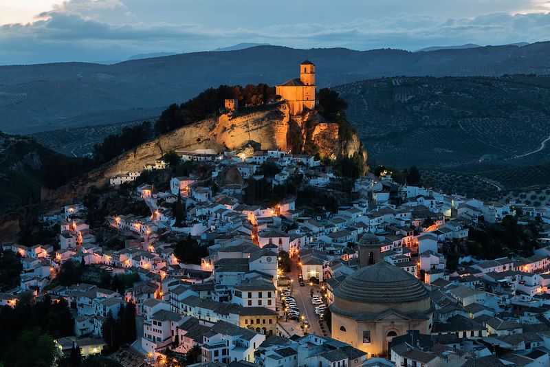 Skyline of the White Town of Montefrío at Dusk