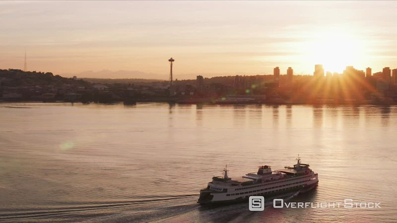 Seattle, Washington Ferry heading towards Seattle at sunrise.  Shot with Cineflex and RED EpicW Helium.