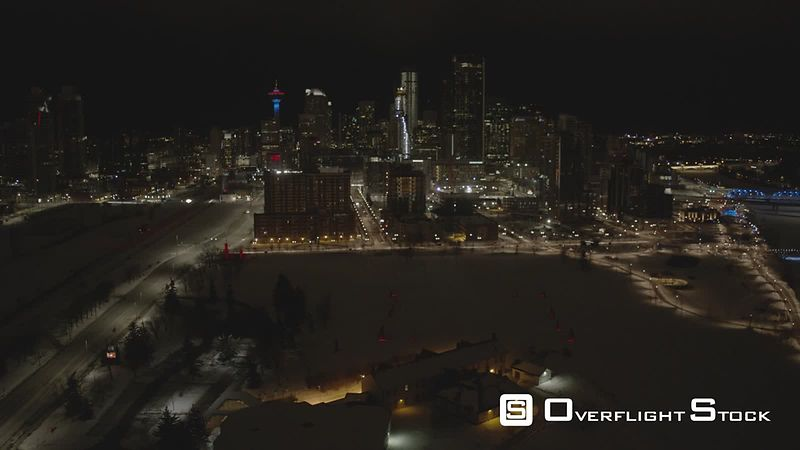 Winter Night Time Drone Video of Downtown Calgary Alberta