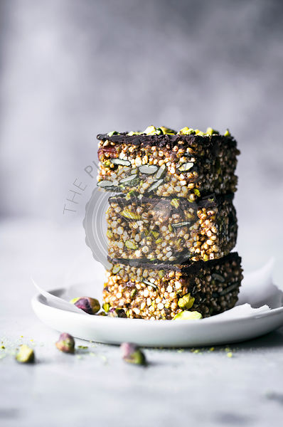 Puffed Quinoa, Date, and Tahini Bars