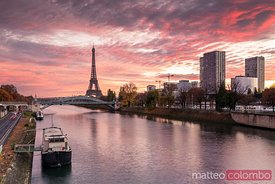 Sunrise over Eiffel tower and river Seine, Paris, France