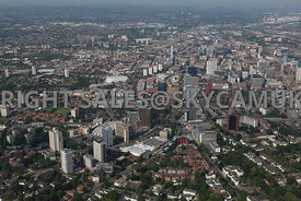 Birmingham wide angle high level aerial photograph looking down Hagley Road and Fiveways into towards the city centre