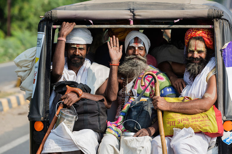 Sadhus Riding in the back of a TukTuk