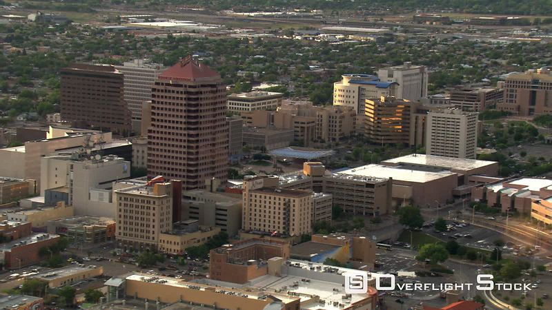 Wide orbit above downtown Albuquerque.