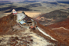 View looking down on old and new ski huts on Mt Chacaltaya, Cordillera Real, Bolivia