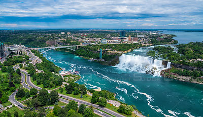Waterfalls that together are known as Niagara Falls on the Niagara River along the Canada U.S. border.