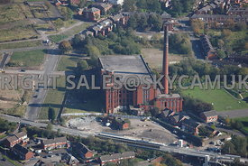 Oldham aerial photograph of old mill on Ridings Way Block Lane Featherstall Oldham