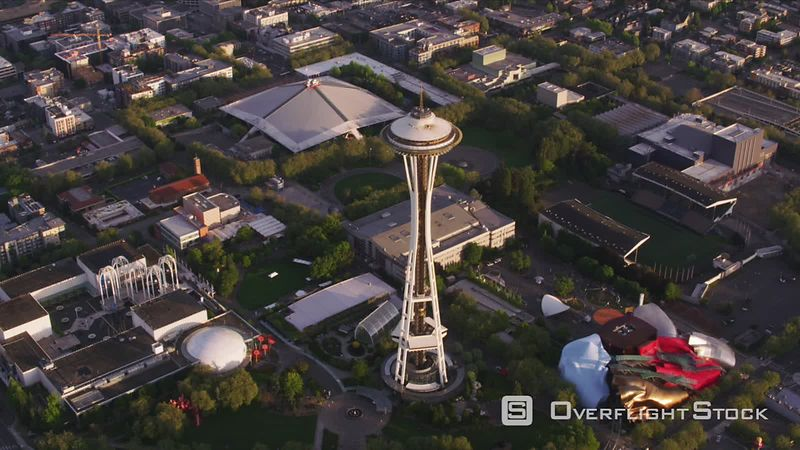 Seattle, Washington Looking straight down on Space Needle in Seattle.  Shot with Cineflex and RED EpicW Helium.
