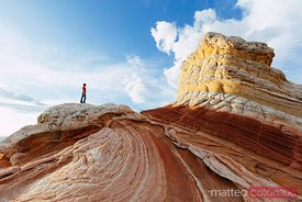 Hiker at White Pocket, Vermillion Cliffs, Arizona, USA