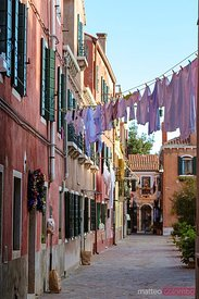 Typical alley with clothes hanging, Murano, Venice