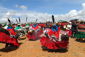 Bull dancers taking part in waka tintis dance, Umala, Bolivia