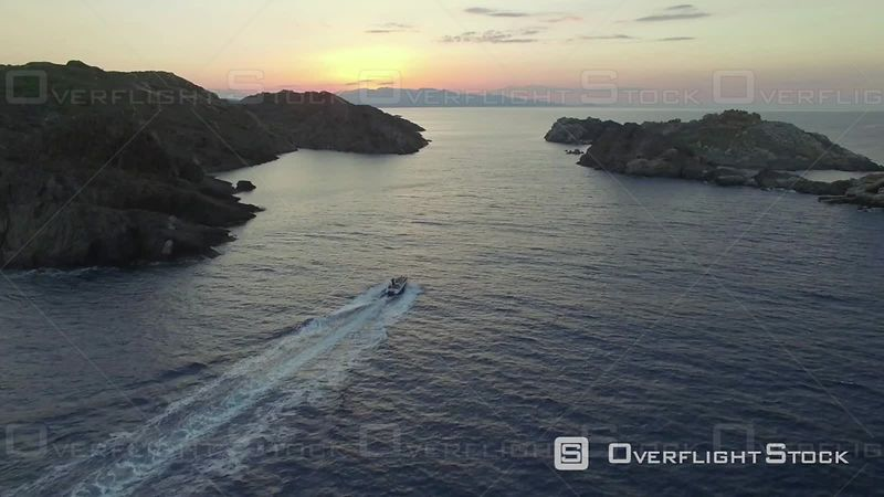 Aerial View of a Motor Boat at Cap De Creus, Filmed by Drone,, Catalonia, Cadaques, Spain