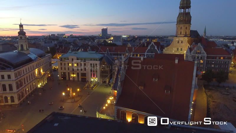 Drone Video Night View of Riga Cityscape from Daugava River Latvia