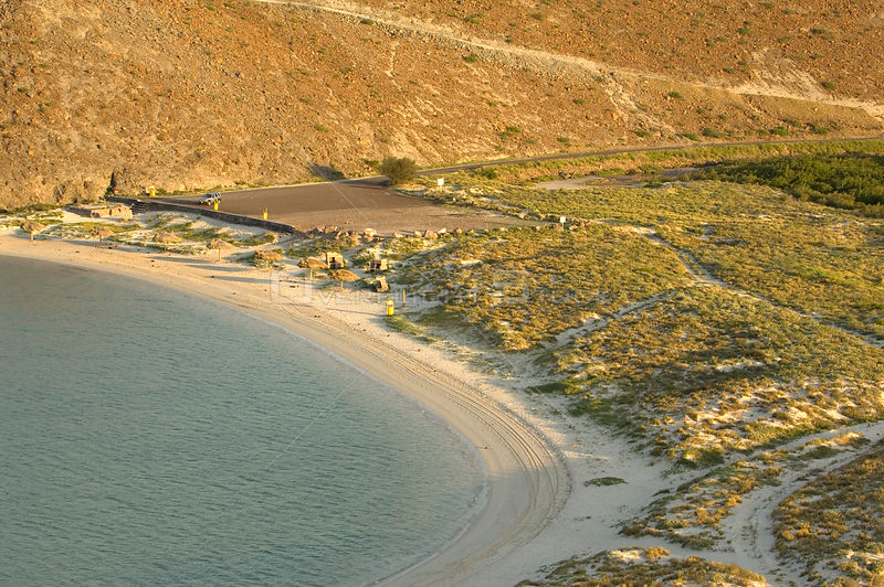 Aerial view of beach and bay, Balandra Bay, Baja California, Mexico, September 2007