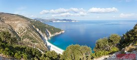 Panoramic of Myrtos beach from overlook, Kefalonia, Greek Islands, Greece