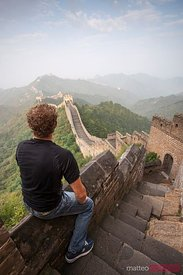 Tourist looking at the Great Wall, Jinshanling, China