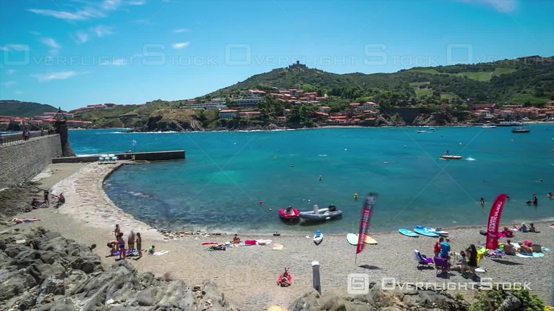 Timelapse of People Swimming in Collioure Harbour France