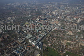 Manchester high level wide angle view of the University of Manchester and Manchester Metropolitan University Campus and the Manchester Science Park