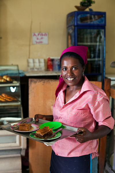 Ethiopia - Addis Ababa - A waitress in the Ras Makonnen coffee house in Addis Ababa