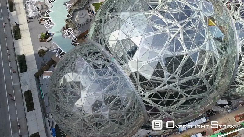 Construction of Amazon Biosphere Geodesic Domes In Seattle Washington USA