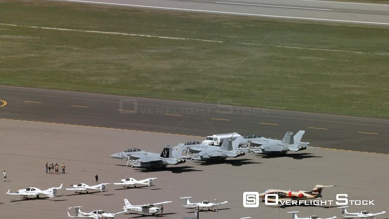 Three FA/18 Hornets sit on the tarmac at the Bozeman Yellowstone International Airport in Bozeman, Montana