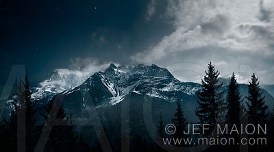 Moonlight over mountains
