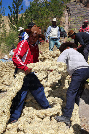 Men passing down one of the new foundation ropes so it can be hauled across the canyon , Q'eswachaka , Canas province , Peru